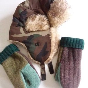 Homemade felted wool mittens and Camo trapper hat